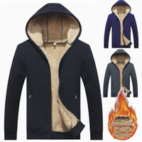 Wholesale Fleece Lined Hoodie Xl - Plus Size Men's Fleece Hoodie Jacket Sherpa Lined Full Zipper Sweatshirt 2018 Fashion Winter Men Clothing Outerwear Coats Asian Size L-4XL