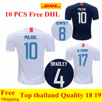 Wholesale usa dhl - wholesale 10 PCS Free Shipping DHL Thai quality 2018 2019 USA PULISIC Soccer Jersey 18 19 DEMPSEY BRADLEY ALTIDORE America Football jerseys