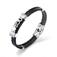 ingrosso braccialetti a più strati di lettera-Bracciale da uomo in pelle di alta qualità vintage multistrato intrecciato a mano in acciaio con bracciale in titanio bicolore