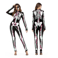 ingrosso modelli di body-2018 nuovi costumi cosplay di Halloween per le donne costumi modello scheletro umano Halloween Party Skintight stampato manica lunga Tuta