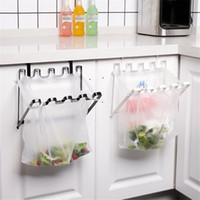 складной гладильный стеллаж оптовых-Мешок для мусора Стеллаж для хранения Кухонный крючок Тип Складной мусорный мешок Железный держатель Практичный органайзер для домашнего хранения