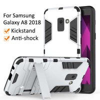 étui de téléphone armure de fer homme galaxie achat en gros de-Pour Samsung Galaxy A7 A8 Plus 2018 Etui Couverture de téléphone portable Slim Armor Case Hybrid Couverture Combo De Luxe 2 en 1 Anti Shock Iron man