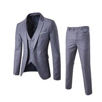 блейзеры три штуки для мужчин оптовых-2018 Men's Fashion Slim Suits Men's Business Casual Clothing Groomsman Three-piece Suit Blazers Jacket Pants Trousers Vest Sets