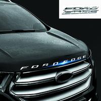 ingrosso bordatura in metallo nero-Car styling Chrome Silver / Black Per 2014 2015 2016 2017 Ford EDGE FORDEDGE Explorer New Metal 3D lettere emblema cappuccio
