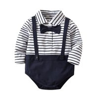 Wholesale baby clothes sizes for sale - INS baby Clothing romper girl boy gentleman stripped boy romper girl Lolita romper spring fall baby clothes