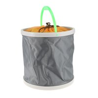 Wholesale portable car wash bucket resale online - Portable Canvas Folding Bucket for Outdoor Camping Fishing Car Washing Pop up folding fishing bucket High Quality Jute Storage Bag Laundry
