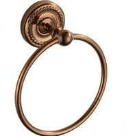 Wholesale copper towel rack resale online - European Style Art Carved Bathroom Towel Ring Antique Brass Wall Mounted Round Towel Rack Hanger bathroom accessory