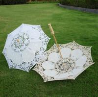 Wholesale camping showers - Lace Manual Opening Wedding Umbrella Bridal Parasol Umbrella Accessories For Wedding Bridal Shower Umbrella CCA9815 30pcs