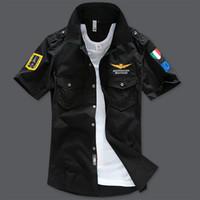 8b4d095f Wholesale military fashion shirts online - 2017 Air Force One Man Short  Sleeve Shirt Cotton Tarmac