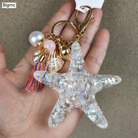 geschenke starfish-liebhaber großhandel-Starfis Schlüsselanhänger - Kristall Starfish Keychain Liebhaber Muscheln Metall Autoschlüssel Ring Anhänger Tasche Kette beste Geschenk Schmuck K1607