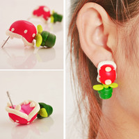 Moda Criativo Bonito Handmade Soft Certified 3D Piranhas Brincos Animal Polymer Clay Earrings Ear Studs Gift D445L
