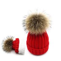 ingrosso lavorare a maglia pellicce di visone-Cappelli pompon in pelliccia di volpe 100% naturale donne cappelli invernali con volpe ponpon pompon big ball pompon pelliccia Berretti visone femminile berretti a maglia