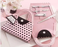 Wholesale Pink Polka Purse Manicure Set - Pink Polka Dot Purse Bag Clipper Pedicure Manicure Set Kit Tools Finger Nail Clippers Scissors Grooming Tools wen5027