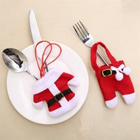 tableware for christmas NZ - Christmas Tableware Ornament for Fork Knife New year Christmas table Decoration for home santa claus clothes Cutlery cover pocket pouch