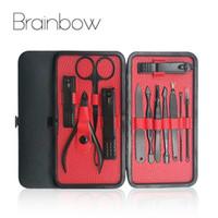 maniküre set nagelhaut großhandel-Brainbow 12in1 Nagel Maniküre Werkzeuge Set Kit für Gesicht Nagel Toe File Nagelhautschieber Makeup Scissor Clipper Pediküre-Sets