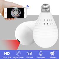 nachtsicht glühbirnen großhandel-Licht 960 P Wireless Panorama Home Security WiFi CCTV Fischaugenlampe Lampe IP-Kamera 360 Grad ONVIF Nachtsicht YITUO
