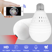 onvif câmera wifi venda por atacado-Luz 960 P Sem Fio Panorâmica Home Security Wi-fi CCTV Fisheye Lâmpada Lâmpada IP Câmera de Visão Noturna de 360 Graus ONVIF YITUO