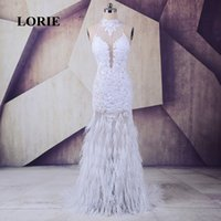 robe de bal de plumes d'autruche blanc achat en gros de-LORIE robes de bal sirène longue plume d'autruche pour la partie blanche en dentelle de tulle col haut dos nu sexy soirée robes de soirée