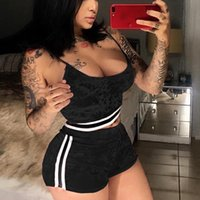 Wholesale Women Velvet Sport Sets - Wholesale- New Fashion Sports Running Sets Women Sexy Velvet Tops Short Pants Split 2 Piece Set Casual Casual Outfit for Running yaga