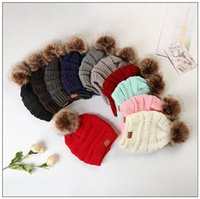 Wholesale fleece beanie hats - 11 Colors CC Trendy Hats Knitted Fur Poms Beanies Winter Slouchy Skull Caps Fashion Leisure Beanies Without Fleece CCA9003 30pcs
