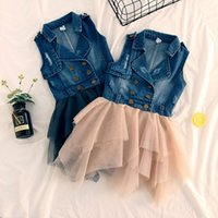 Wholesale Denim Lace Vest - Baby Denim sleeveless dress girls lace Tulle cowboy Princess Vest dresses 2018 summer Boutique Kids Clothing 2 colors C4119
