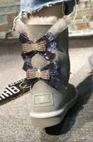 weiße diamantaufladungen ferse großhandel-2018 neue australische Schnee Stiefel Mittlere Röhre Mode warme Frauen Baumwolle Schuhe Bowknot Bohrer Schneeschuh Größe