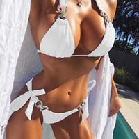 ingrosso usura brasiliana-Halter Bikini 2018 Costumi da bagno donna sexy Costume da bagno cut out Bikini brasiliano Set fasciatura Beach Wear Costumi da bagno Costume da bagno femminile