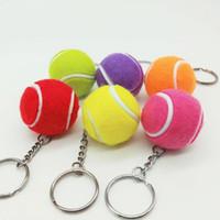 büyük süs toptan satış-6 renk Tenis topu kolye Büyük tenis topu anahtarlık Süsler spor Ürünler fanlar eşya anahtarlık hediye Anahtarlık