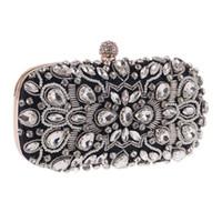 ingrosso cavità portafogli nuovi donne-New Black Hollow Out Diamonds Wallet Handmade Pearl Purse Women Dress Sera Party and Wedding Bag