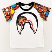 Wholesale toddler boys halloween shirts - Little girls cartoon T-shirts summer boys shark moneky printed T-shirts toddler kids short sleeve casual tops children cotton Tees Y3178