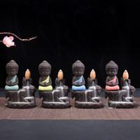 mini sable achat en gros de-Emballage de mousse de sécurité Petit brûleur d'encens à reflux Buddha Purple Sand Monk Encensoir Céramique Mini Parfum Eau de Montagne 12ds bbkk