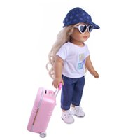 Wholesale toy suitcases - Travel Set Suitcase Pink Suitcase For 18 inch American Girl Doll,our generation of dolls,the best Christmas gift(only Suitcase)