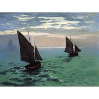 óleo de peixe de qualidade venda por atacado-Pinturas a óleo Handmade Claude Monet Barcos De Pesca no Mar arte da lona para a decoração da parede de Alta qualidade