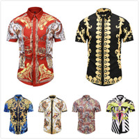 Wholesale casual dress shirt colours - Brand New designer Summer autumn Slim men shirt Luxury Retro Colour printing casual shirt social Short sleeve men's medusa Dress shirts