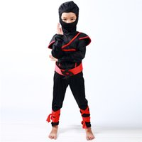 Wholesale green fancy dress costumes - Boys Kids Childs Ninja Assassin Japanese Samurai Warrior Fancy Dress Costume New