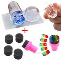 Wholesale Nail Art Stamping Sponge - 1 Clear Jelly Stamper + 1 Sponge Stamper Silicone Nail Art Scraper with Cap Transparent 2.8cm Nail Stamp Stamping Tool