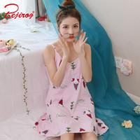70f1567e62 Discount girls sexy nightdress - Bejirog Coon Sleepshirts Sleeveless  Sleepwear Sexy Lingerie Pijama Pink Female Nightgown