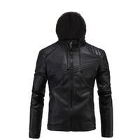 yeni erkek ceketli deri ceket toptan satış-Yeni Retro Vintage Motosiklet Ceket Erkek PU Deri Moto Ceketler Ile Kapşonlu Slim Fit Ceketler Biker Klasik Kapitone Mont Giysileri