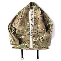 homens japoneses do quimono venda por atacado-Estilo japonês Camuflagem Homens Jaquetas de Ponto Aberto Kimono Algodão Hip Hop Streetwear Moda Masculina Jaqueta Outwear