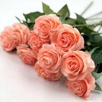 buquês de látex venda por atacado-Bouquet Flor 6 Cabeças de Toque Real Primavera Flores de Látex Artificial Rose Flores Bouquets Para Um Casamento Decoração de Casa