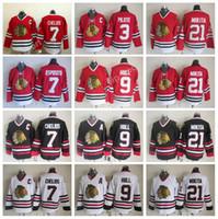 jersey tony esposito al por mayor-Chicago Blackhawks 9 Bobby Hull Jerseys Hockey 3 Pierre Pilote 7 Tony Esposito 7 Chris Chelios Jersey Rojo 21 Stan Mikita