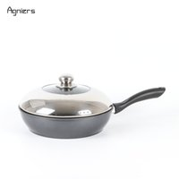 Wholesale Fried Deep - Agniers Black Nonstick 11 -Inch Stir Fry Pan Deep Frying Pan Cookware With Stainless Steel Lid Cooker