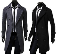 Wholesale double standard clothing for sale - Group buy Slim Trench Long Coat Jackets Winter Long Sleeved Double Breasted Overcoat Mens Solid Color Windproof Outerwear Clothing