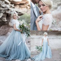 ingrosso gonna blu 12-2017 Fairy Beach Boho Lace Abiti da sposa Jewel Neck A Line Morbido Tulle Cap Sleeve Backless Light Blue Gonne Plus Size Bohemian Bridal Gown