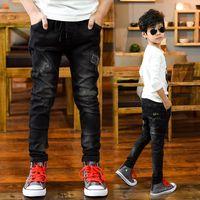 große jeans großhandel-FYH Große Jungen Jeans Elastische Taille Denim Hosen Kinder Kleidung Frühling Herbst Teenager Kinder Hosen Jean Hosen 5-14 Jahre