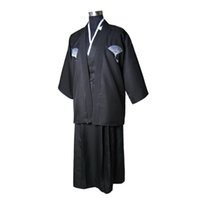 eski ipek kimono toptan satış-Siyah Vintage Japon Erkekler Ipek Saten Kimono Savaşçı Yukata Haori Cadılar Bayramı Kostüm Sahne Performansı Giyim Bir Boyut