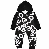 Wholesale Black Hooded Bodysuit - Love Letters Baby Rompers Spring Printed Hooded Infant Jumpsuit Autumn Spring Long Sleeve Baby Casual Onesie Infant Bodysuit C2742