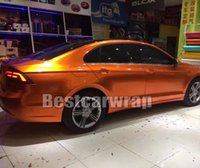Wholesale foil wrapped cars online - Sunrise Gloss candy Orange Vinyl Wrap For WHOLE Car wrap covering foil With Air bubble Free Premium quality SIZE M Roll x67ft