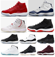 11 s erkek yetiştirilen toptan satış-Yüksek Kalite 11 11 s Kap Ve Kıyafeti Bred Concords Basketbol Ayakkabı Erkekler Kadınlar 11 Uzay Reçel 45 Spor Kutusu Ile Kırmızı 72-10 Sneakers