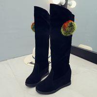 strass hohe stiefel großhandel-2017 neue Mode Winter Frauen Stiefel Hoch Kanister Höhe Zunehmende Frauen Schneeschuhe Über Das Knie Damen Strass High Heels